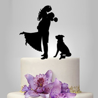 wedding Cake Topper Silhouette, dog Silhouette wedding cake topper, pitbull, doberman, shi zu, labrador, your dog silhouette