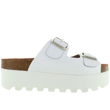 SixtySeven Lisa- White Leather High Platform Footbed Slide Sandal