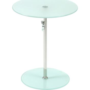 Radinka Adjustable Height Round End / Side Table Frosted Glass & Chrome