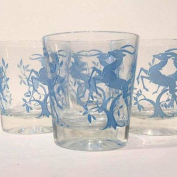 Blue Gazelle Tumblers, Set of 4 Mid Century Low Ball Glasses, Vintage Barware, Retro Drinking Glasses Blue Hazel Atlas Gazelle Tumblers