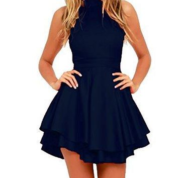 Womens Halter Neck Skater High Low Homecoming Party Cocktail Dress Dark Blue,L