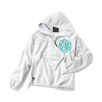 White Fleece Lined Monogrammed Windbreaker Jacket - Personalized Hooded quarter zip Pullover with hood, waterproof raincoat by Charles River
