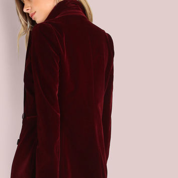Double Breasted Tailored Velvet Blazer BURGUNDY | MakeMeChic.COM