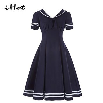 IHOT Fashionable Summer Preppy Style Short Sleeve Striped print Ruched Vintage Rockabilly pin up dresses japanese school uniform