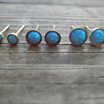 Opal Stud Earrings, Classic 3mm 14k Gold Filled Studs, Blue Opal, Gold Opal Posts, Statement Gift, October Birthstone, Bridal Jewelry