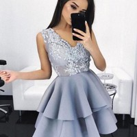 Gray V Neck Appleques A Line Homecoming Dress