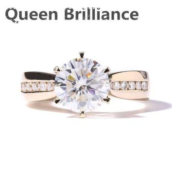 Queen Brilliance Solid 14K 585 Yellow Gold 2 Carat ct F Color Engagement Wedding Moissanite Diamond Ring With Moissanite Accents