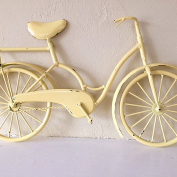 Metal Decorative Bicycle wall hanging, yellow distressed