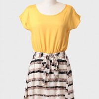 Honeycomb Sash Belt Dress