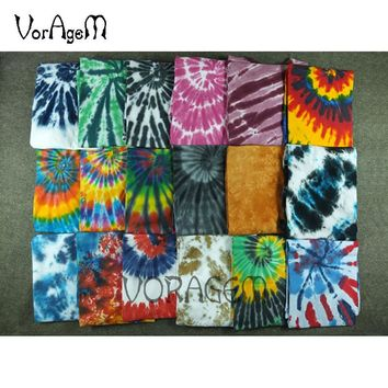 VORAGEM 2017 Men's Summer Handmade Tie Dye T Shirt Fashion Spiral Star Ray Colorful Tops Hipster Skateboard Men 100% Cotton Tees