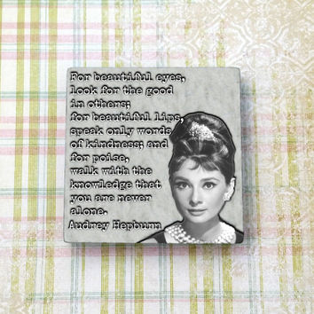 Audrey Hepburn Quote Vintage Hollywood Ceramic Tile Refrigerator Fridge Magnet Cubicle Dorm Decor Magnet Board