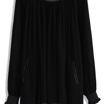 Bliss of Free Black Oversized Top