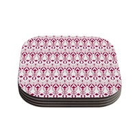 "Julia Grifol ""Warm Deco"" Pink White Coasters (Set of 4)"