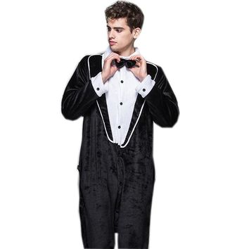 Halloween Party Tuxedo Cosplay Costumes For Men Gentleman Pyjamas Adult Pajamas Onesuit All In One With Bow Tie