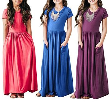 Telotuny girls dress Pleated Long Swing Casual short sleeve Maxi Dress with Pockets Casual Sundress Beachwear Dresses MAY 30
