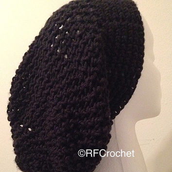 Hat for Dreadlocks Long Hair Care Black Slouchy Beanie, Lightweight Acrylic, Stretches like a Net