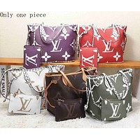LV Selling Fashion Colour-Coloured Full-Printed Single Shoulder Bag Two-piece Set for Ladies