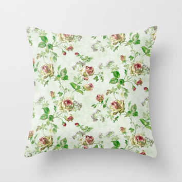 Vintage Floral Throw Pillow by kasseggs