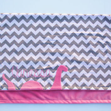 Loch Ness Blanket, Monogrammed Baby Blanket, Embroidered Baby Blanket, Chevron Baby Blanket, Minky Blanket, Create Your Own