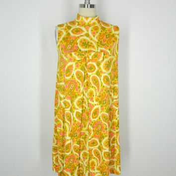 1960s Day Dress / Mod Neon Paisley Print Shift Tent Dress / Sleeveless 60s / Size Small S
