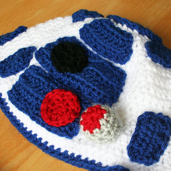 Droid Hat, knit r2d2 hat for adults, Star Wars inspired crochet droid Hat, halloween costume, Adult sizes