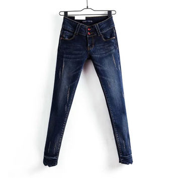 Korean Summer Women's Fashion Skinny Pants High Rise Jeans [4919992452]