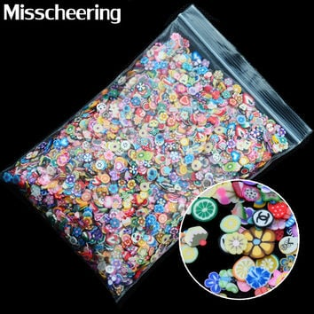 New 1pack Nail Art 3D Fruit Flowers Feather Design Tiny Fimo Slices Polymer Clay DIY Beauty Nail Sticker Decorations
