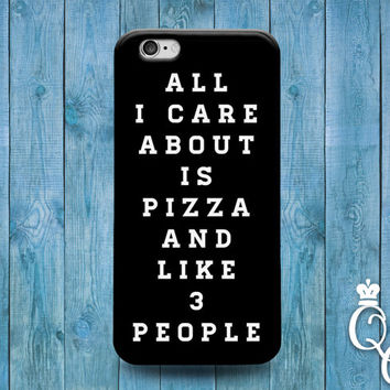 iPhone 4 4s 5 5s 5c 6 6s plus iPod Touch 4th 5th 6th Gen Food Funny Cover Black All I Care About is Pizza and 3 Like People Cute Phone Cover
