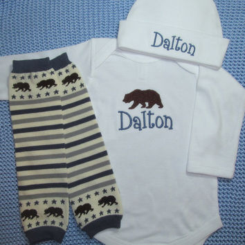 Baby Boy Outfit Clothes Bodysuit Hat Leg Warmers Embroidered Brown Bear and Name Personalized Baby Clothing Monogrammed