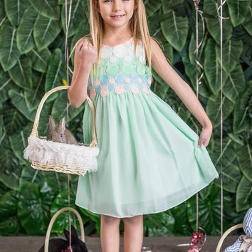 Girls Mint Chiffon Easter Dress w. Crochet Circle Bodice 2T-14