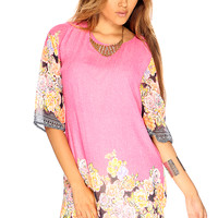 Pink Floral Quarter Sleeve Cute Casual Summer Dress