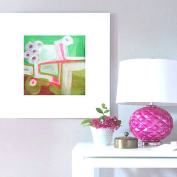 "Abstract Acrylic Painting Original Fine Art 7.5"" x 7.5"" by Linnea Heide - colorful fun whimsical - pink and green"