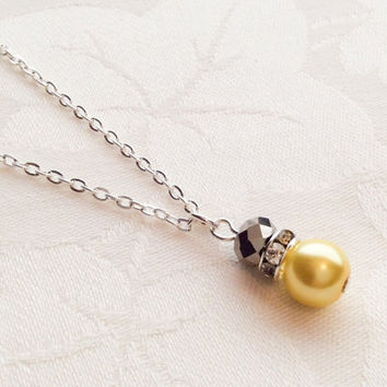 Gray & Yellow Necklace Yellow and Grey Jewelry Bridesmaid Necklace Wedding Jewelry Bridesmaid Gift
