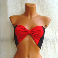 FREE SHIPPING Yoga Sport Summer Bandeau Bra Tube Top In Bow BLACk And & RED Striped Stripes Ribbon Custom Order