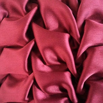 18 x18 Decorative Satin Throw Pillows Cover in Maroon Canadian Smocking Accent Pillows Sofa Pillows Cushion Cover Home Décor