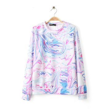 White Painted Print Sweater