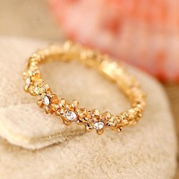 Flower Crystal Gold Engagement Rings Promise Rings Wedding Bands Rings for Women