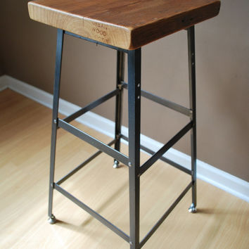 "1 Reclaimed Wood and Steel Industrial Shop Stool. Made in Chicago. Qty (1) 19"" table height - QUICK SHIPPING"