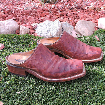 LUCCHESE 2000 Mules / size 8 B / EU 38 /39 / brown ostrich leather western slides / mules / clogs