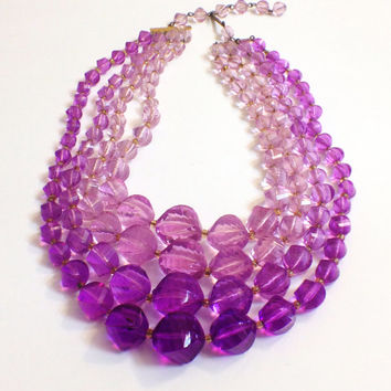 Vintage Four Strand Purple Lucite Beaded Necklace, Translucent Beads, West Germany, 1950s, 1960s