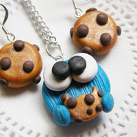 Cookie Monster Jewelry Set Necklace Set Earrings And Necklace for Tweens, Teens and Adults