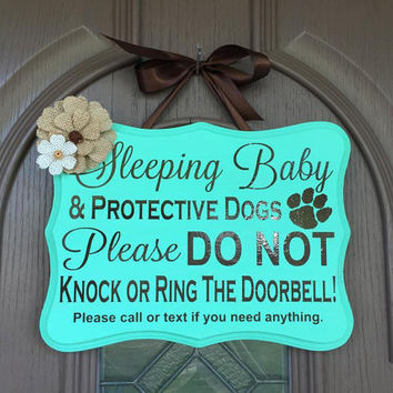 Sleeping Baby Protective Dogs Front Door Sign