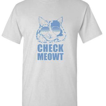 Check Meowt Cat Sunglasses Adult T-Shirt - Many Color Choices