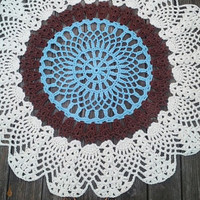 "Blue, Off White, Brown Cotton Crochet Rug in Large 42"" Circle Pineapple Lacy Pattern READY to SHIP"