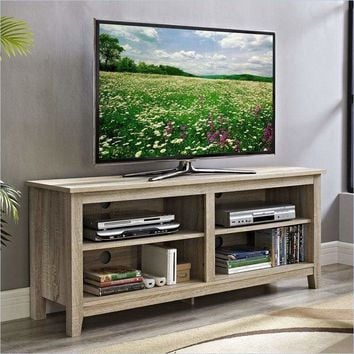 """58"""" Natural Wood TV Stand Console by Walker Edison"""