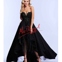 High Low Black Strapless Gown