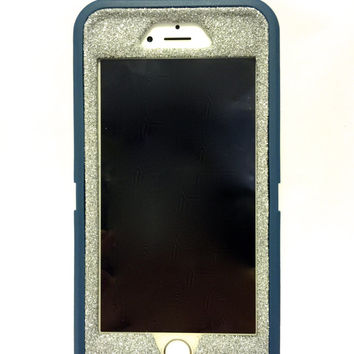 iPhone 6 (4.7 inch) OtterBox Defender Series Case Glitter Cute Sparkly Bling Defender Series Custom Case  Deep water blue / silver