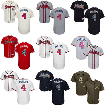 2017 new arrival #4 Brandon Phillips Jersey , Men's Atlanta Braves Brandon Phillips baseball jersey flexbase cool base stitched size S-4XL