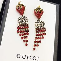 GUCCI New fashion diamond letter strawberry tassel long earring Red