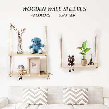 Furniture Wall Hanging Bookcases 1/2/3 Wood Wall Rope Floating Storage Shelf Crafts Display Decor